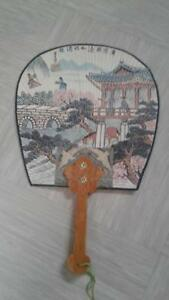 Vintage Oriental Paper Hand Fan With Wooden Handle Made Korea Antiques Asian Antiques