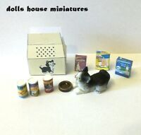 Pet Cat Carrying Box And Accessories Dolls House Miniature