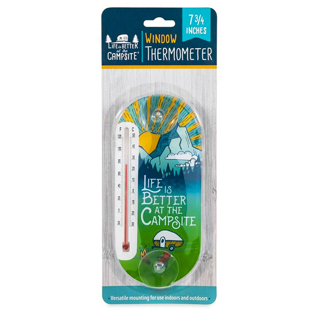 Life is Better at the Campsite RV Cabin Window Thermometer Glass Indoor Outdoor