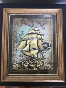 Vtg-Distressed-1-034-Ornate-Gold-12x10-Wood-Picture-Frame-9-5x8-Clipper-Ship-Art