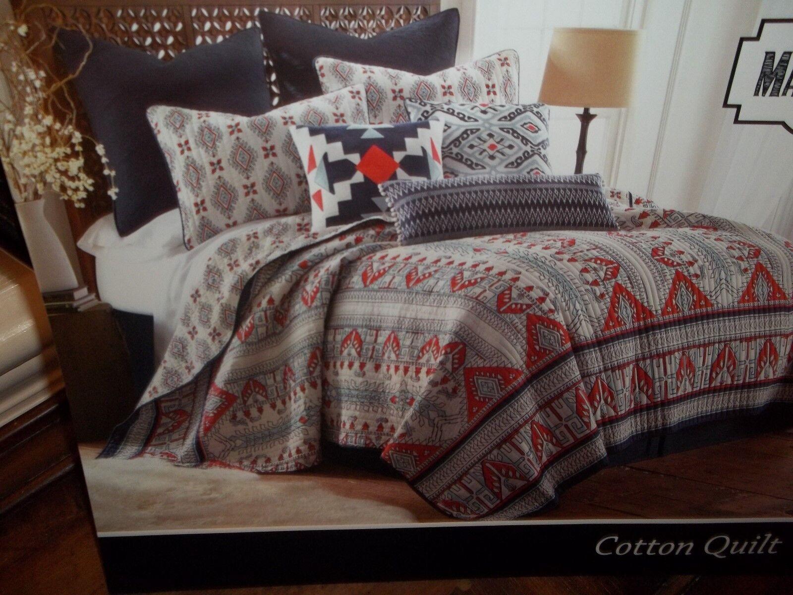 NIP Marcella Cotton Southwestern White bluee Red Twin Quilt & 1 Sham