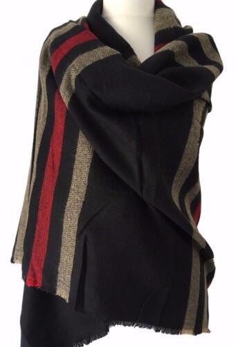 Navy Blanket Scarf Ladies Large Chunky Winter Pashmina Shawl Dark Blue Red Wrap