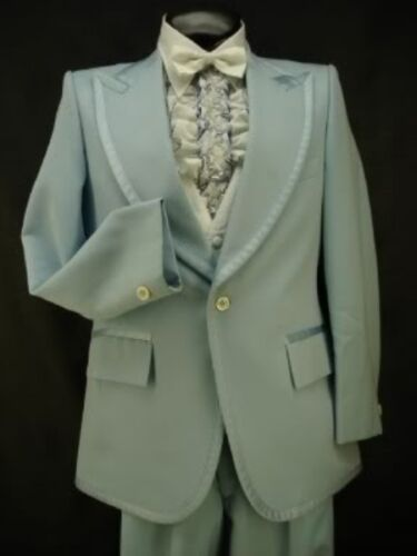 VINTAGE LIGHT BABY BLUE WITH RIBBED SATIN MENS TUXEDO JACKET or 4pc TUX RETRO