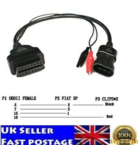 OBD 2 For Fiat Alfa Lancia 3 Pin To Diagnostic Adapter Connector Extension Cable