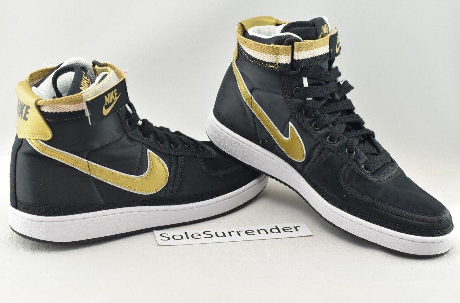 Nike Vandal High Supreme QS - SIZE 11 - AH8652-002 Black White Metallic gold OG