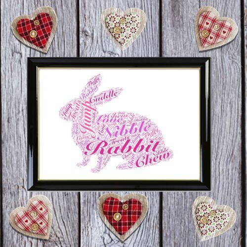 Personalised Rabbit Word Art Love Birthday Gift Keepsake A4 A5 Print Home