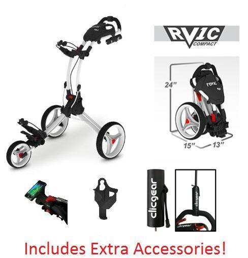 Clicgear Rovic Rv1s Swivel Golf Push Cart   eBay on electric three wheel, junior golf pull carts 3 wheel, push cart replacement wheel,