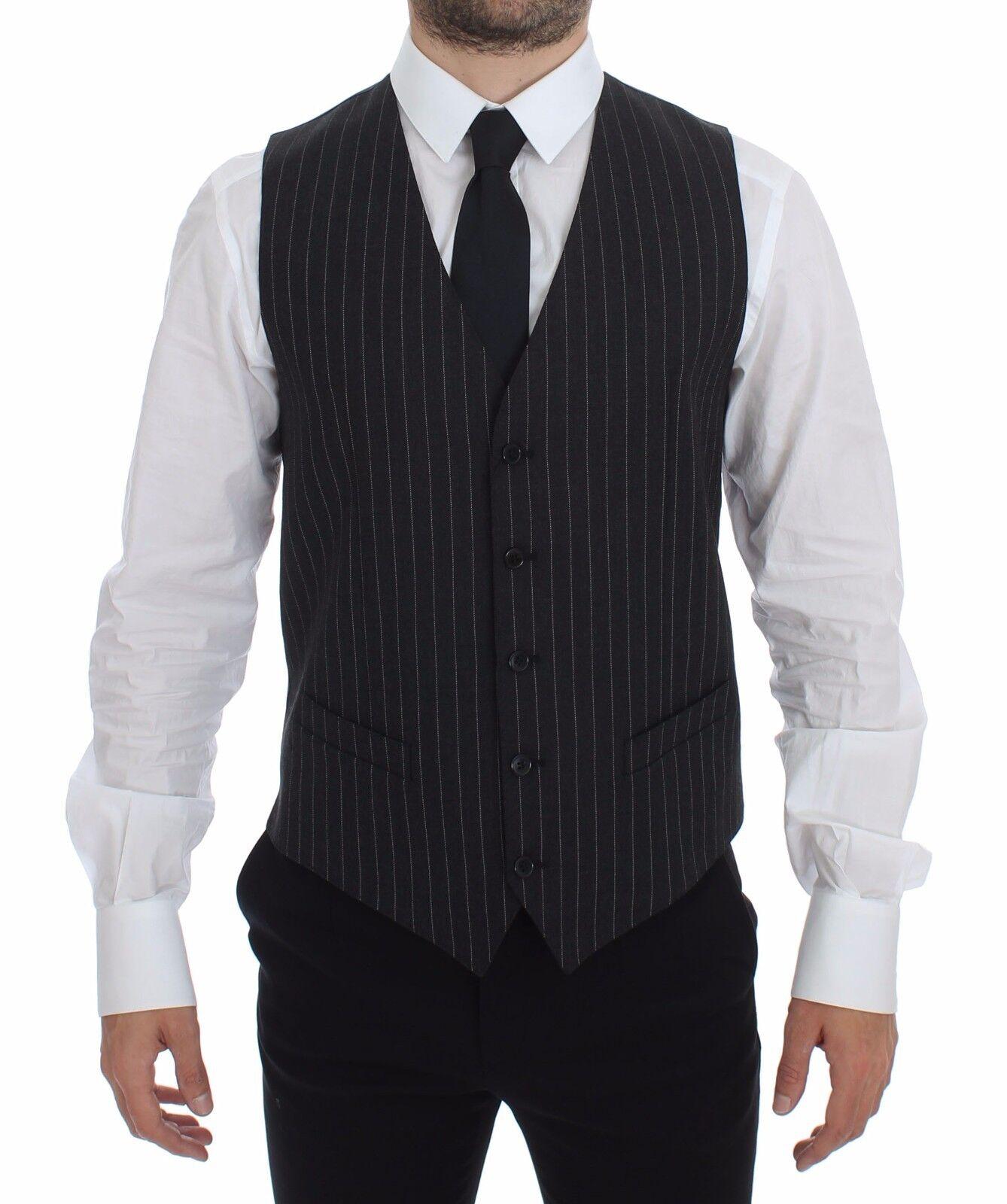 NWT 500 DOLCE & GABBANA grau Striped Wool Logo Vest Gilet Weste IT48 / US38 /M