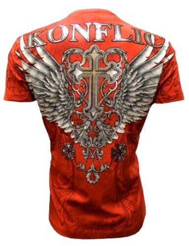 Konflic T-shirt Cross Wings BIKER TRIBAL Rocker MMA UFC Fight konfli Forever