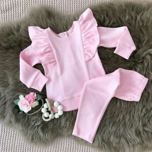 2PCS-Toddler-Kids-Baby-Girls-Ruffle-Tops-Pants-Pink-Outfits-Clothes-Tracksuit