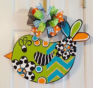 Hand painted Wood Door Hanger Spring Summer Whimsical Bird - Any ...