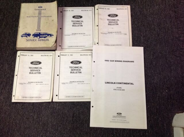 1992 Ford Lincoln Continental Service Shop Repair Manual Set W Ewd  U0026 Bulletins