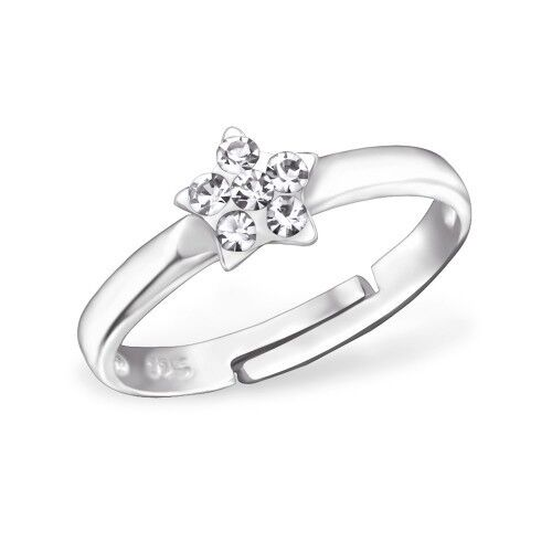 Gift Boxed Childrens Girls Sterling Silver Clear Crystal Star Ring Adjustable