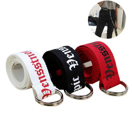 Fashion Neutral Nylon Canvas Belt  Women Men D Ring Buckle Belt 130cm FBB
