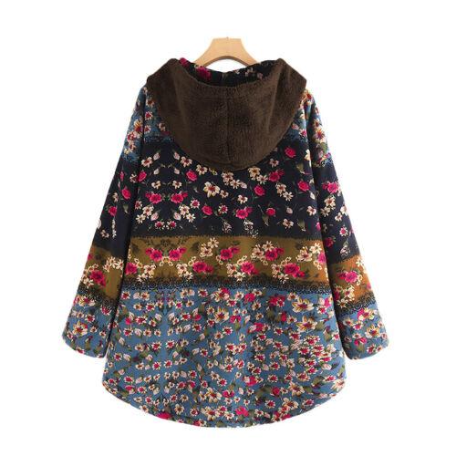 Damen Blumen Fleece Kapuzenpullover Winter Outwear Sweatshirt Tunika Übergröße