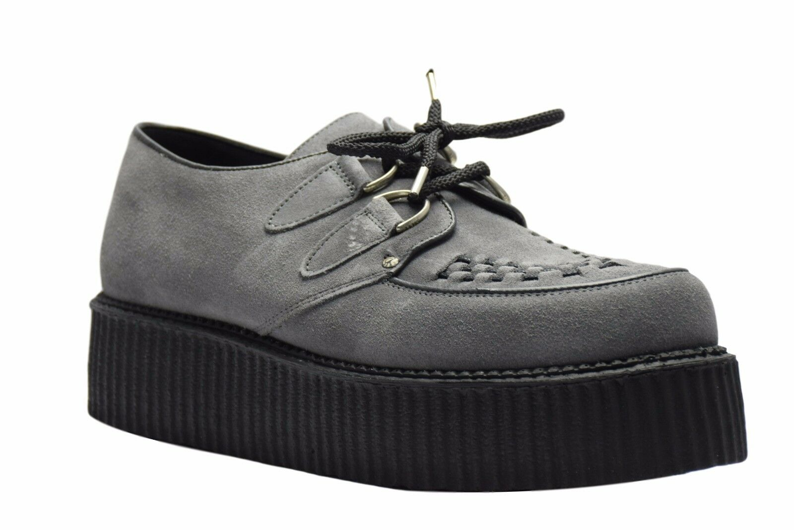 Steel Ground Schuhes Grau Suede Creepers High Sole D Ring Casual Rock Sc300Z134