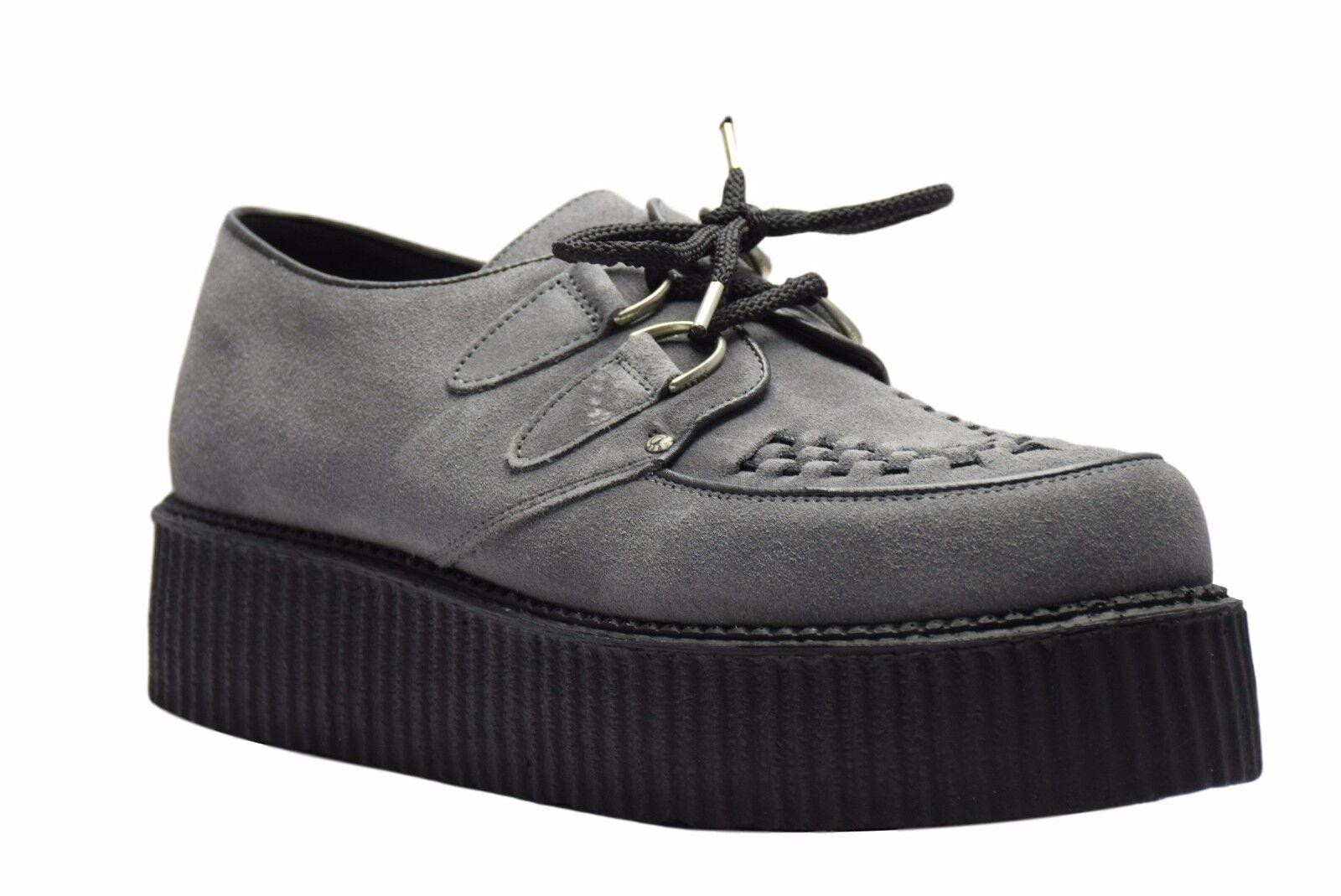 Acier Sol Chaussures en daim gris creepers Haute Semelle D Anneau Décontracté Rock Sc300Z134