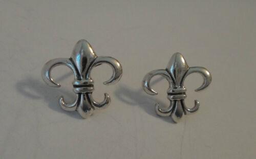 Sterling Silver 13x13mm petit Fleur de lis Clous D/'Oreilles