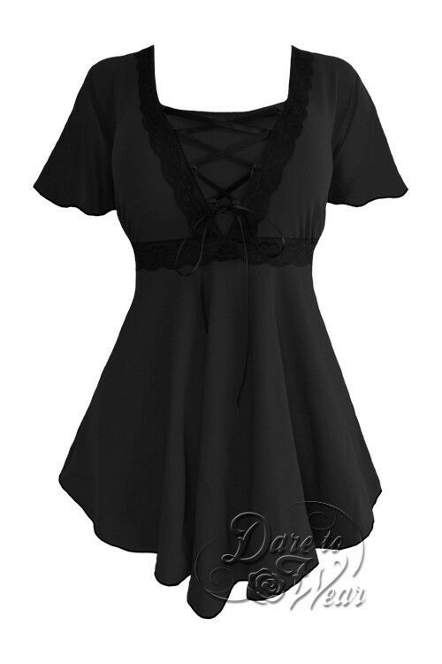 Dare to Wear Victorian Gothic Pin Up Boho Angel Corset Top schwarz
