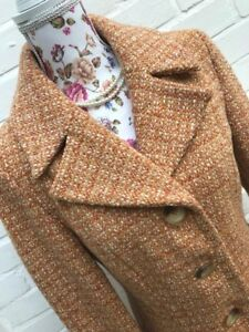 Wallis Tweed Blend Jacket Size Wool Eur 38 10 Style Coat Winter Orange rXqwrxpf