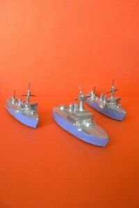Plomb Creux : La Marine Bel Ensemble De 3 Bateaux Guerre