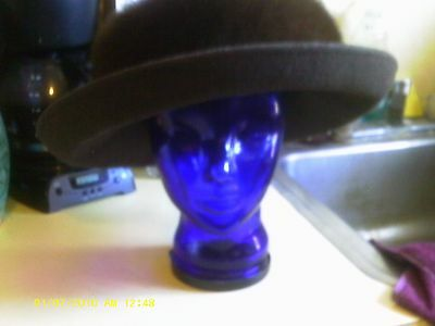 "KOKIN STUDIO ARMY GREEN WITH BROWN FOX FUR TRIM GORGEOUS HAT 7 1/4"""