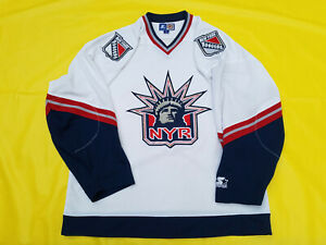 New-York-Rangers-jersey-Mens-Starter-White-Mens-XL-Lady-Liberty-NHL-extra-large