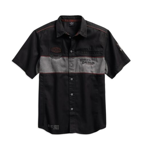 HARLEY-DAVIDSON MEN/'S IRON blocco Shirt Camicia Taglia L-Signori a maniche corte