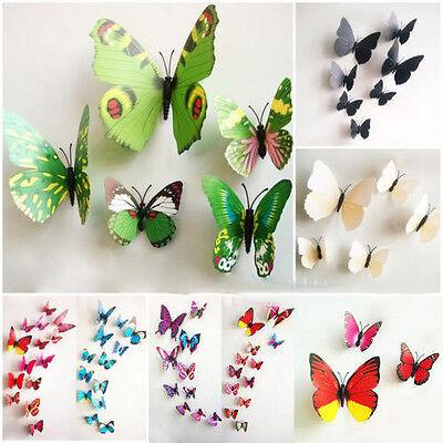 12pcs 3D Home Decor Art Design Mode Sticker Schmetterling Wandsticker Aufkleber