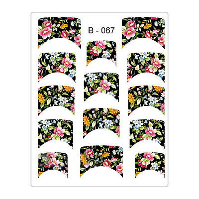 French Edge Nail Art Water Decals Transfer Stickers Colorful Flower Manicure DIY