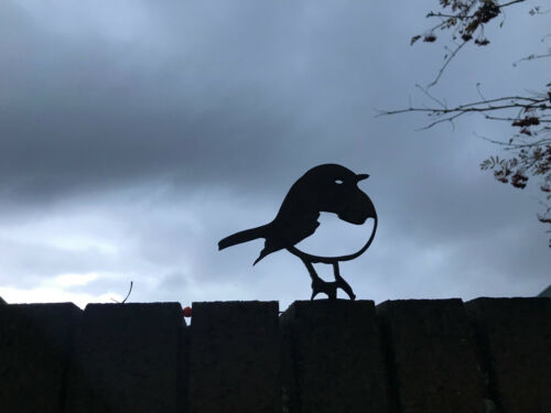 Robin Topper Silhouette Rusty Metal Oiseau patine art jardin ornement en acier doux