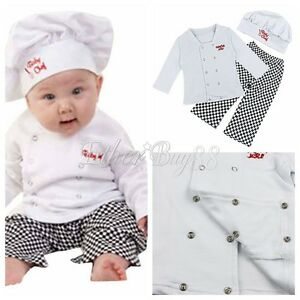 4d53c4e776347 Details about Baby Boy Girl Cook Chef Carnival Party Costume Top+Pants+Hat  Fairy Dress Outfits