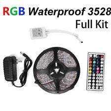 Waterproof 5M 3528 RGB 300 LED Strip light & 44 Key Remote & 12V Supply Power US