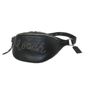SALE-COACH-Belt-Chest-Bag-Silver-Script-Stud-Black-Leather-F88875-Zipper