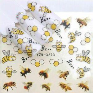 Nail-Art-Pegatinas-Calcomanias-de-agua-transfiere-las-abejas-Bumble-Abejas-Zumbido-abejas-3273