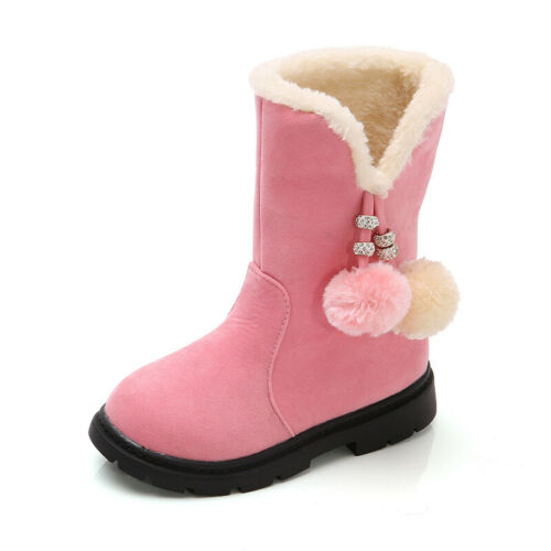 Kids Girls Winter Snow Boots Ankle Fur Lined Warm Outdoor Snow Boots Size 25-36