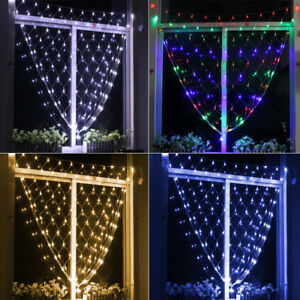 8 multi effect 3m6m net curtain mesh string fairy lights christmas image is loading 8 multi effect 3m 6m net curtain mesh aloadofball Images