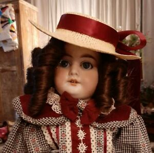 Antique-16-Inch-AM-1894-DOLL-in-Plaid-Dress-With-Detachable-Collar-And-Matching