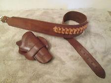 "Cowboy Western Brown Leather Tapered Gun Belt Side Draw Holster 45 Colt 4.75"" RH"