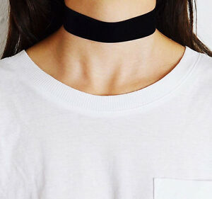 25mm-Thick-Black-Velvet-Wrap-Choker-Wide-Chain-Goth-Lolita-NEW-CELEBRITY-TREND