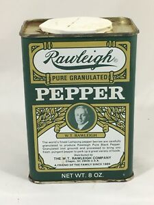 Vintage-Victorian-Style-Rawliegh-Pepper-Tin-Font-Green-Edition-Empty-8-Oz