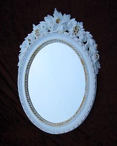 Espejos Espejo De Pared Antiguo Ovalado Oro Blanco Baño 51x37 Shabby Barroca C496