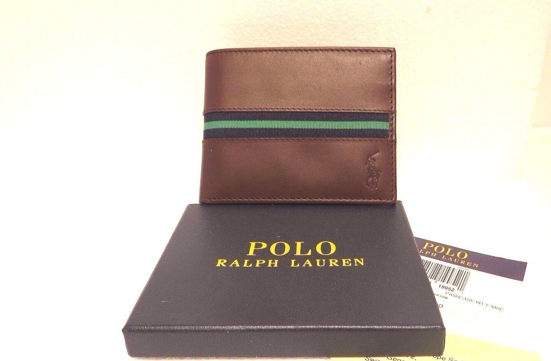Ralph Lauren POLO Men's Leather Passcase Wallet, id sleeve green tape
