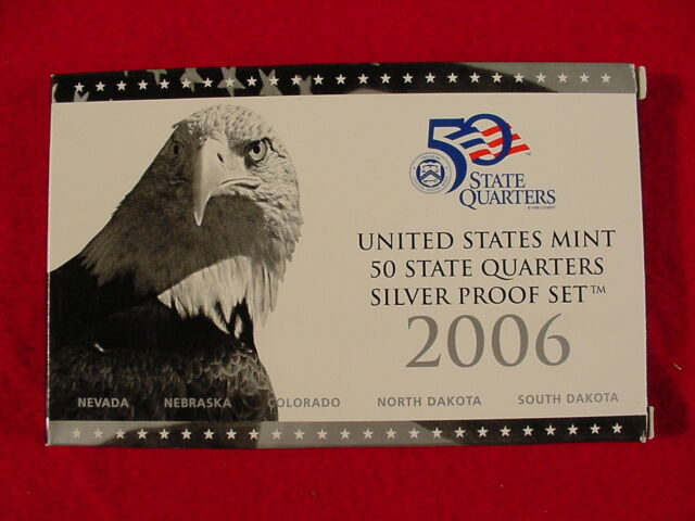 U. S. Mint 2006 Silver Proof Set State Quarters Deep Cameo COA