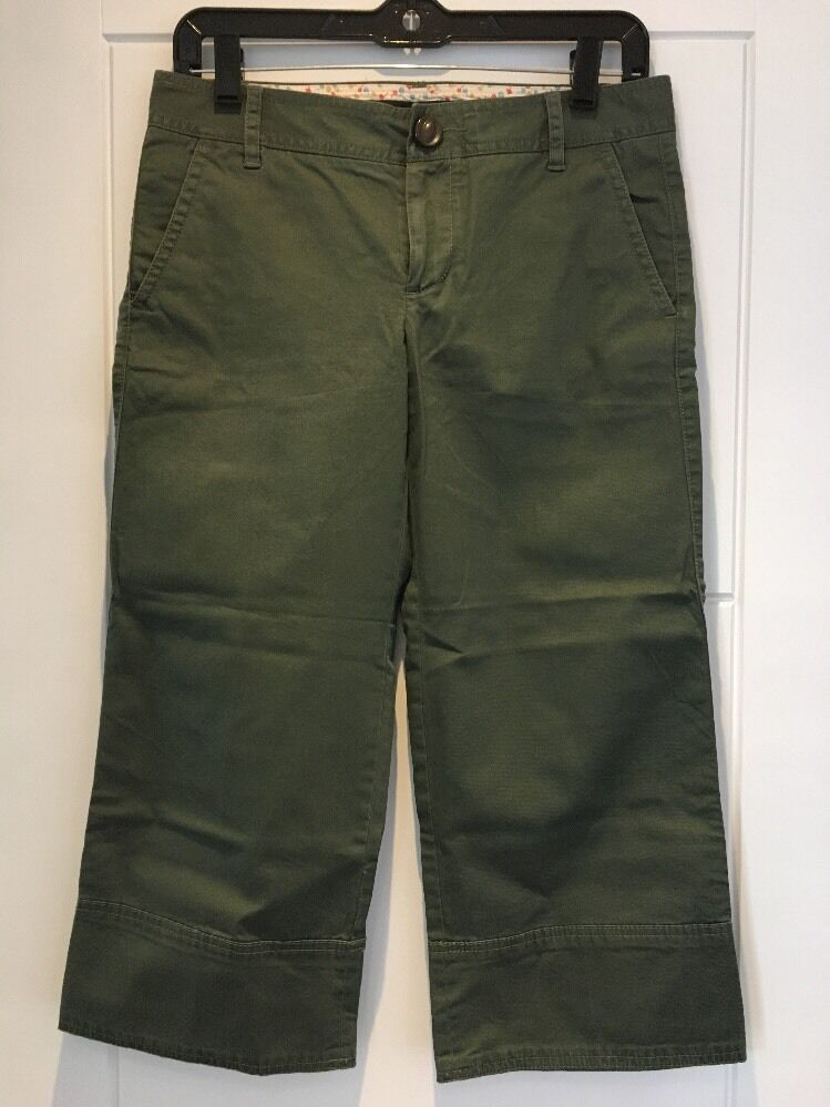 MARC JACOBS Cropped Capri Trousers Military Utility Green US 2 S Small