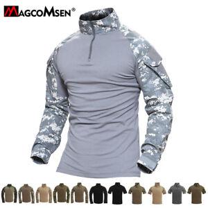 Mens-Tactical-Long-Short-Sleeve-Army-Zipper-Camo-Shirts-Combat-Military-T-Shirts