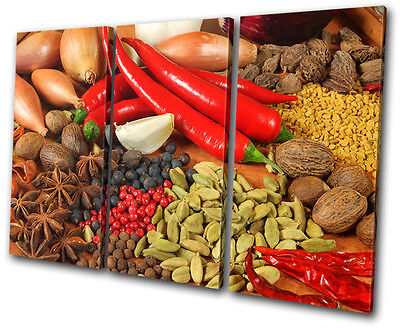 Food Kitchen Spices Peppers TREBLE CANVAS WALL ART Picture Print VA