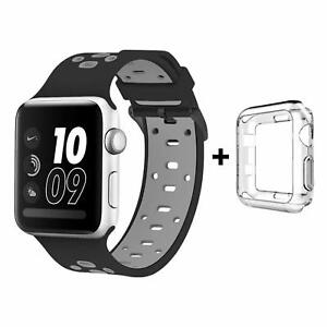 pretty nice cec09 1aa64 Details about Best Apple Watch Band 42mm with Case iWatch Sport Soft Strap  Series 3 2 1 Nike +