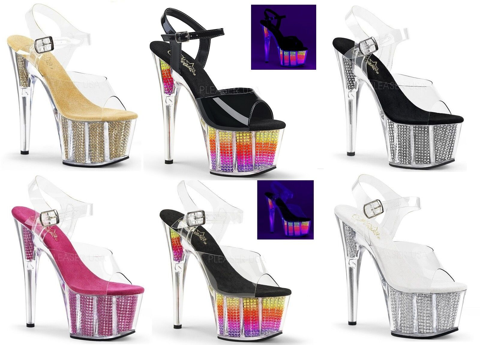 Pleaser ADORE-708SRS ADORE-709SRS Exotic Dancing  Platform Ankle Strap Strap Strap Sandal 79242d