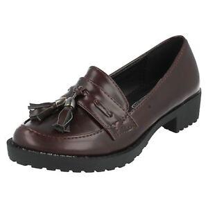 OFFERTA-ragazze-h3036-Marrone-SINTETICO-scarpe-slip-on-con-nappa-da-SPOT-ON